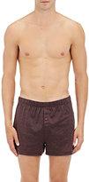 Hanro Men's Striped Cotton Jersey Boxers-BURGUNDY, NO COLOR