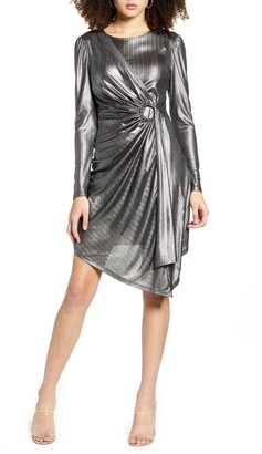 Leith Metallic Stripe Long Sleeve Asymmetrical Dress