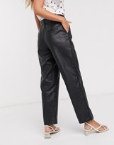 Vila faux leather trouser with high waist in black