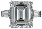 Platinum 10.80ct Emerald Cut Diamond Engagement Ring Size 6.25
