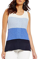 Jones New York Coloblock Fine Gauge Slub Knit Tank
