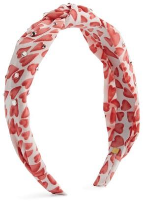 Bari Lynn Embellished Heart Print Knot Hairband