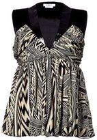 Givenchy Black/Olive Patterned Silk Top