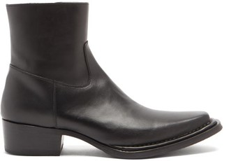 Acne Studios Cuban-heel Leather Ankle Boots - Black