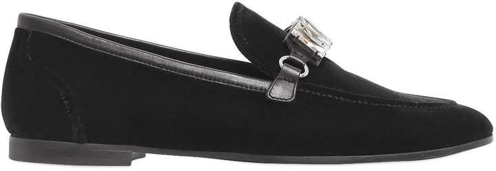 Giuseppe Zanotti Design 10mm Velvet & Swarovski Loafers