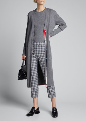 Thom Browne Long Rib V-Neck Wool Cardigan
