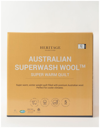 Heritage Australian Superwash Wool Warm Quilt White