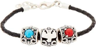 American West Braided Leather Bracelet with 3 Sterling & Gemstone Charms