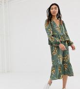 Monki floral print midi frill dress in green