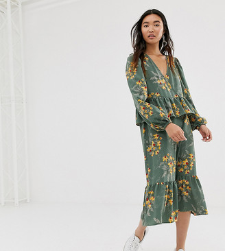 Monki floral print midi frill dress in green