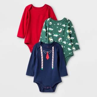 Cat & Jack Baby Boys' 3pk Long Sleeve Bodysuits - Cat & JackTM Red/Green/