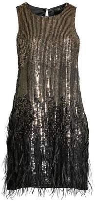 Parker Black Allegra Feather-Trim Sequin Dress