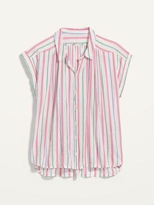 Old Navy Oversized Dobby-Stripe Short-Sleeve Shirt for Women