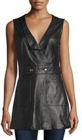 Frame Leather Waistcoat Jumper, Noir
