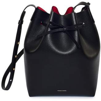 Mansur Gavriel Saffiano Bucket Bag - Black/Flamma