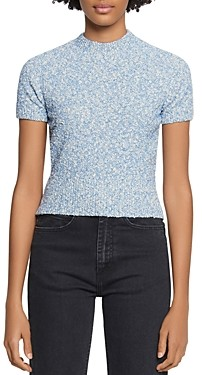 Sandro Ginna Marled-Knit Short-Sleeve Sweater
