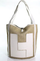 Lambertson Truex Beige White Woven Raffia Leather Trim Large Structured Tote Bag