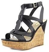 GUESS Harlea Women Open Toe Synthetic Black Wedge Sandal.
