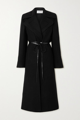 Valentino Belted Double-breasted Wool And Silk-crepe De Chine Coat - Black