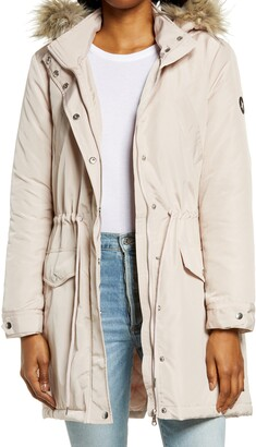 Hurley Water Resistant Hooded Parka with Faux Fur Collar
