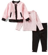 Little Me Baby Girls 12-24 Months Jacket, Dotted Tee, & Leggings 3-Piece Set