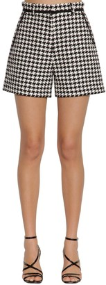 MSGM Cotton Blend Houndstooth Shorts