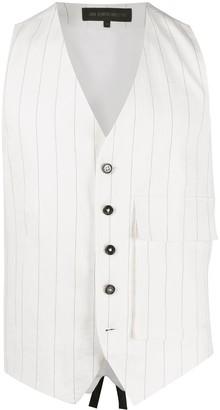 Ann Demeulemeester Flap Pocket Pinstripe Cotton Blend Waistcoat