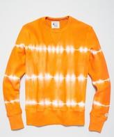 Todd Snyder + Champion Neon Tie Dye Reverse Weave Crewneck in Orange
