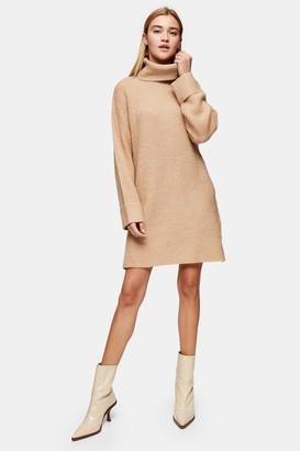 Topshop Camel Plaited Funnel Neck Knitted Dress