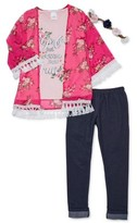 Forever Me Girls 4-12 Floral, Crochet Trimmed Kimono, Graphic Tee and Knit Denim Leggings, 3-Piece Outfit Set With Flower Crown