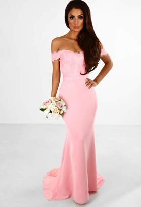 Pink Boutique Hollywood Babe Pink Embroidery Detail Bardot Maxi Dress