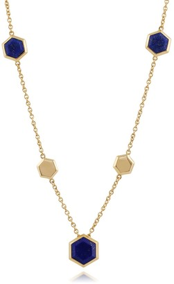 Lapis Lazuli Hexagon Chain Necklace in Gold Plated Silver