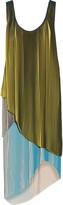 Stella McCartney Leanne asymmetric plissé-crepe de chine midi dress