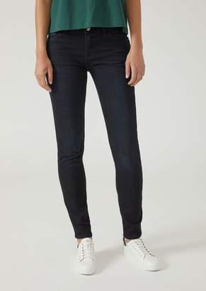 Emporio Armani Super-Skinny Blue Black Raw Stretch Denim Jeans