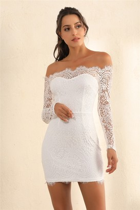 Miss Floral Lace Overlay Off Shoulder Bodycon Dress In White