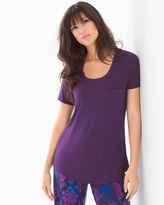 Soma Intimates Short Sleeve Pajama Tee with Pocket Blackberry