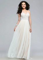 Faviana 7717 V- neck Prom Dress with Lace and Beading Detail