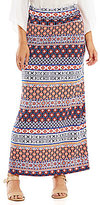 I.N. Studio Medallion Stripe Print Pull-On Maxi Skirt