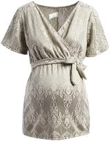 Glam Green & White Lace-Print Maternity Surplice Tunic