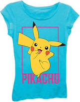 Asstd National Brand Pokemon Girls' Pikachu Jumping Pose Short Sleeve Graphic T-Shirt with Black Glitter