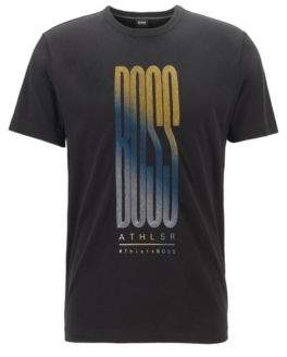 BOSS Cotton-jersey T-shirt with multi-coloured logo