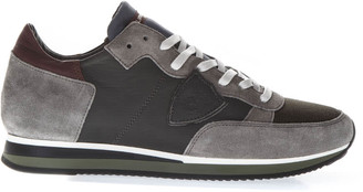 Philippe Model Tropez Light Gray Suede & Blue Nylon Sneakers