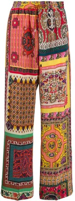 Etro Silk Patchwork Print Trousers