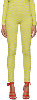 Off-White Off White Grey and Yellow Bubble Check Leggings