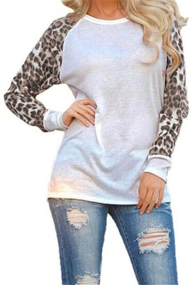 Toamen New Sexy Women Loose Leopard Long Sleeve Round Neck Baggy Baggy Jumper Casual Tops Blouse T-Shirt