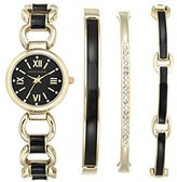 Anne Klein Women's AK/1982BKST Swarovski Crystal-Accented Gold-Tone and Black Watch and Bracelet Set