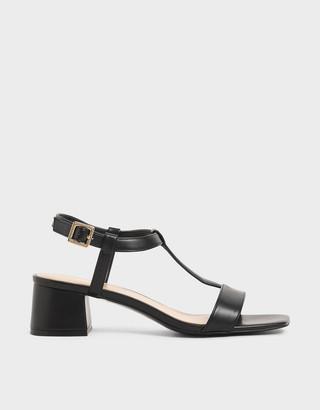 Charles & Keith Patent T-Bar Block Heel Sandals