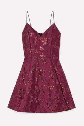 Alice + Olivia Alice Olivia - Anette Pleated Metallic Jacquard Mini Dress - Burgundy
