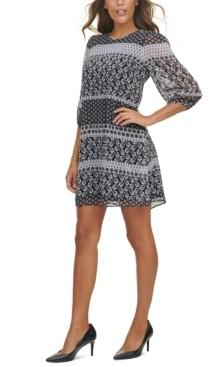 Calvin Klein Mixed-Print Chiffon Dress