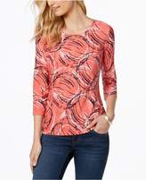JM Collection Petite Embellished Printed Jacquard Top, Created for Macy's